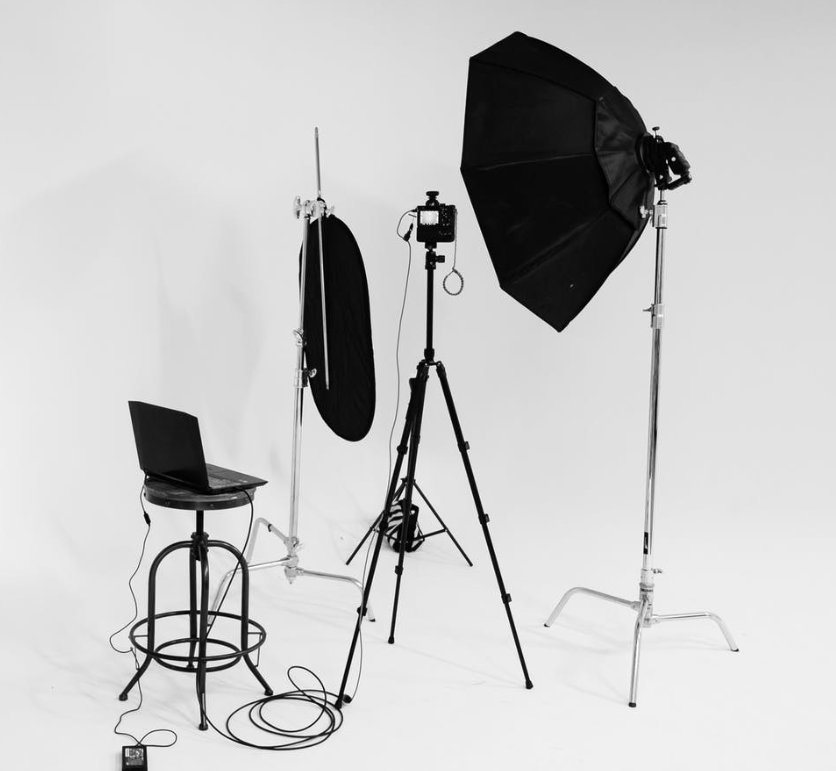 Studio setup for Shopify product photography session